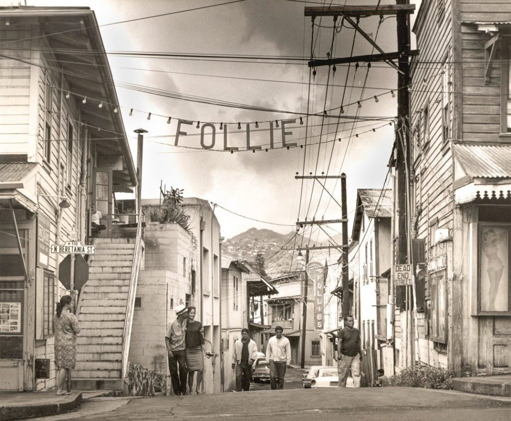 Photo by Francis Haar of a circa 1955 Chinatown scene in Honolulu.